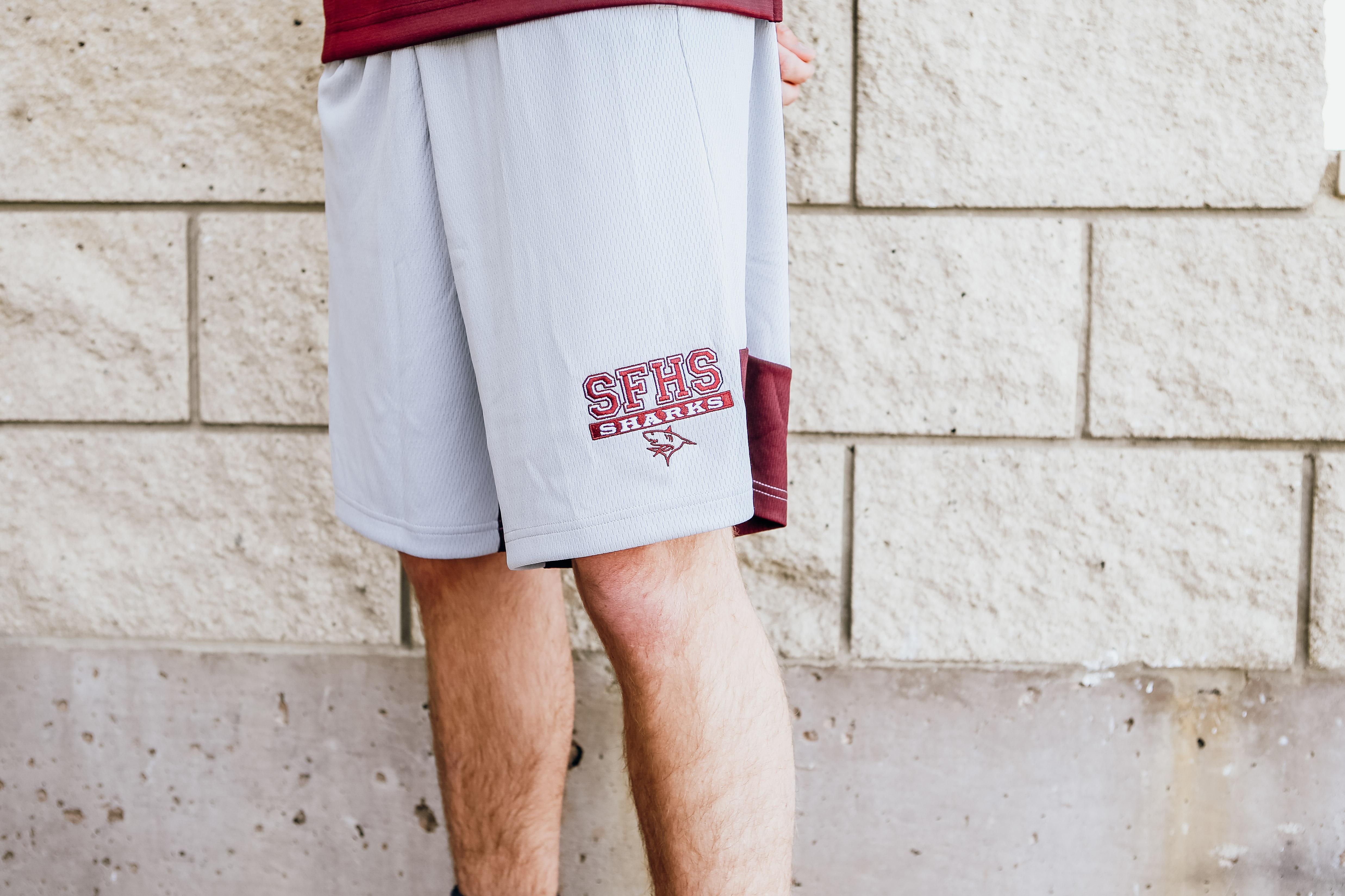 Nike Breathe Knit Grey & Maroon Shorts -Adult XLarge
