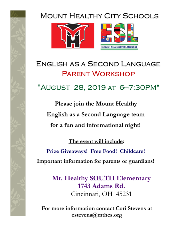 ESL Parent workshop flyer