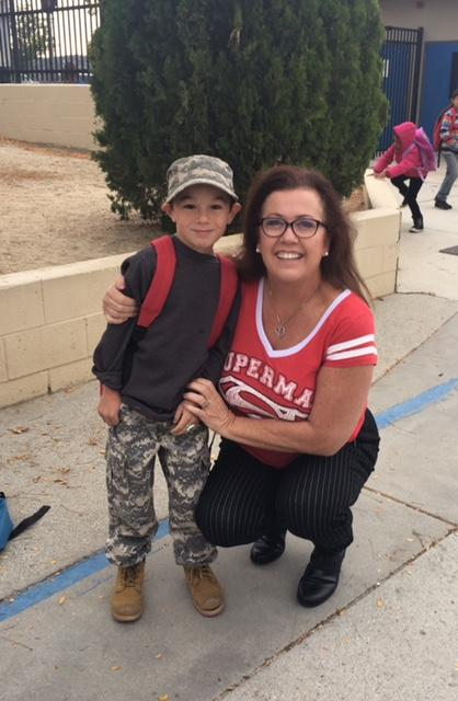 Mrs. Robilotta and student dressed as a Military Hero