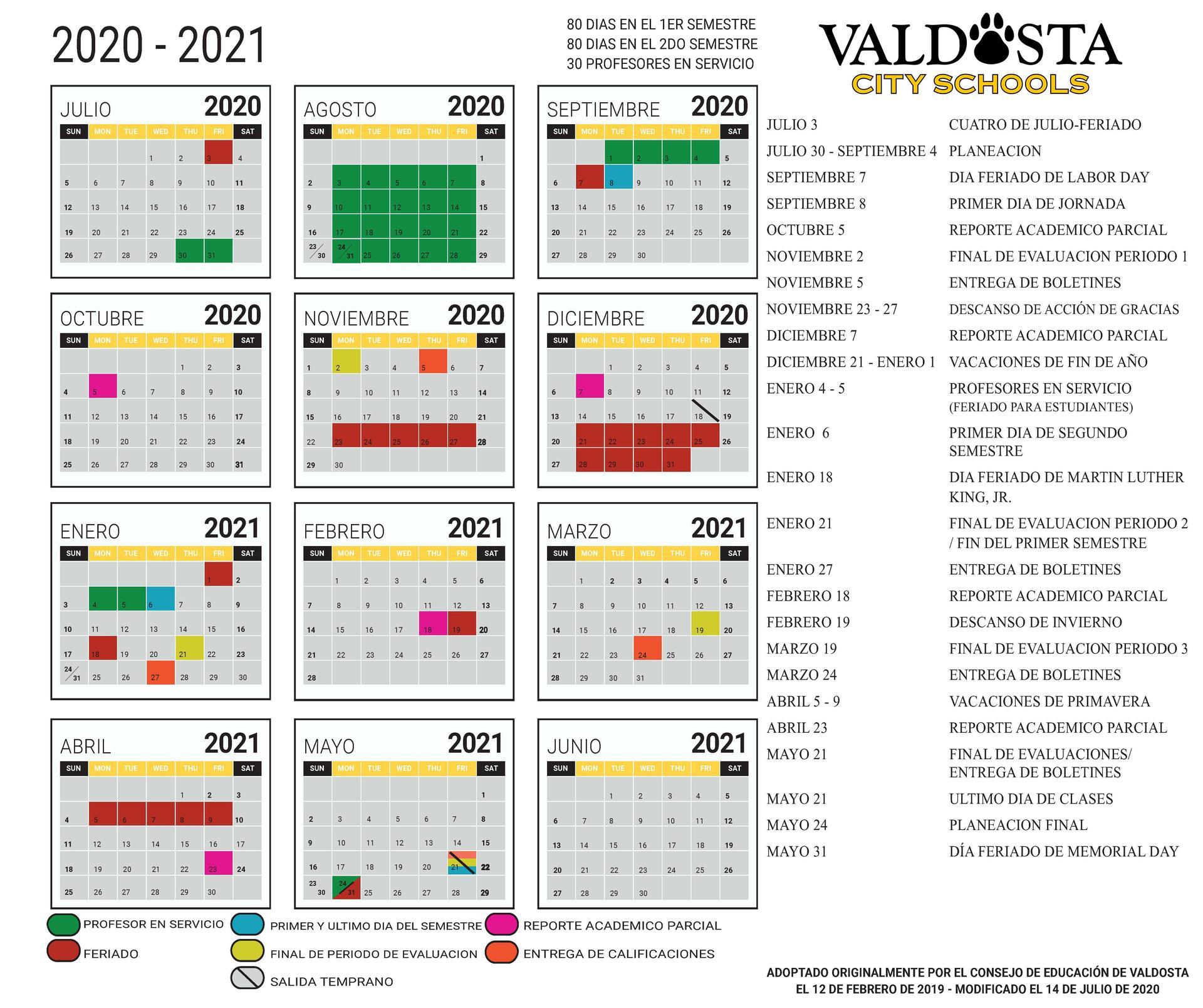 Haz clic aquí para descargar el Calendario Académico Español 2020-2021
