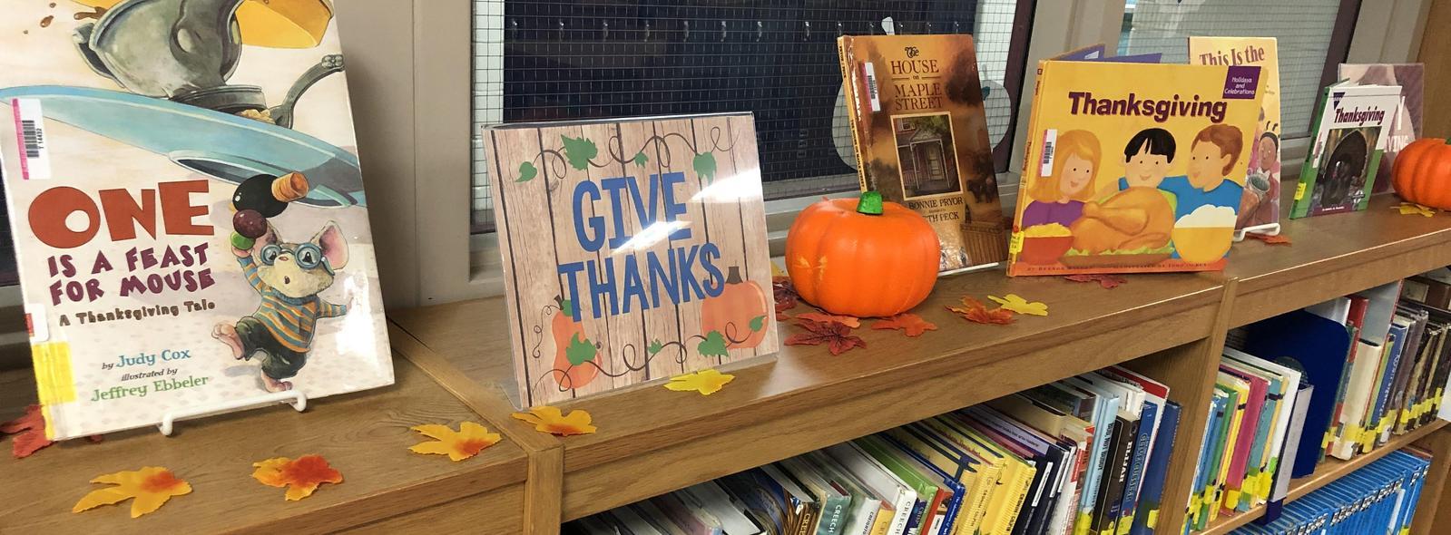shelf of thankgiving books
