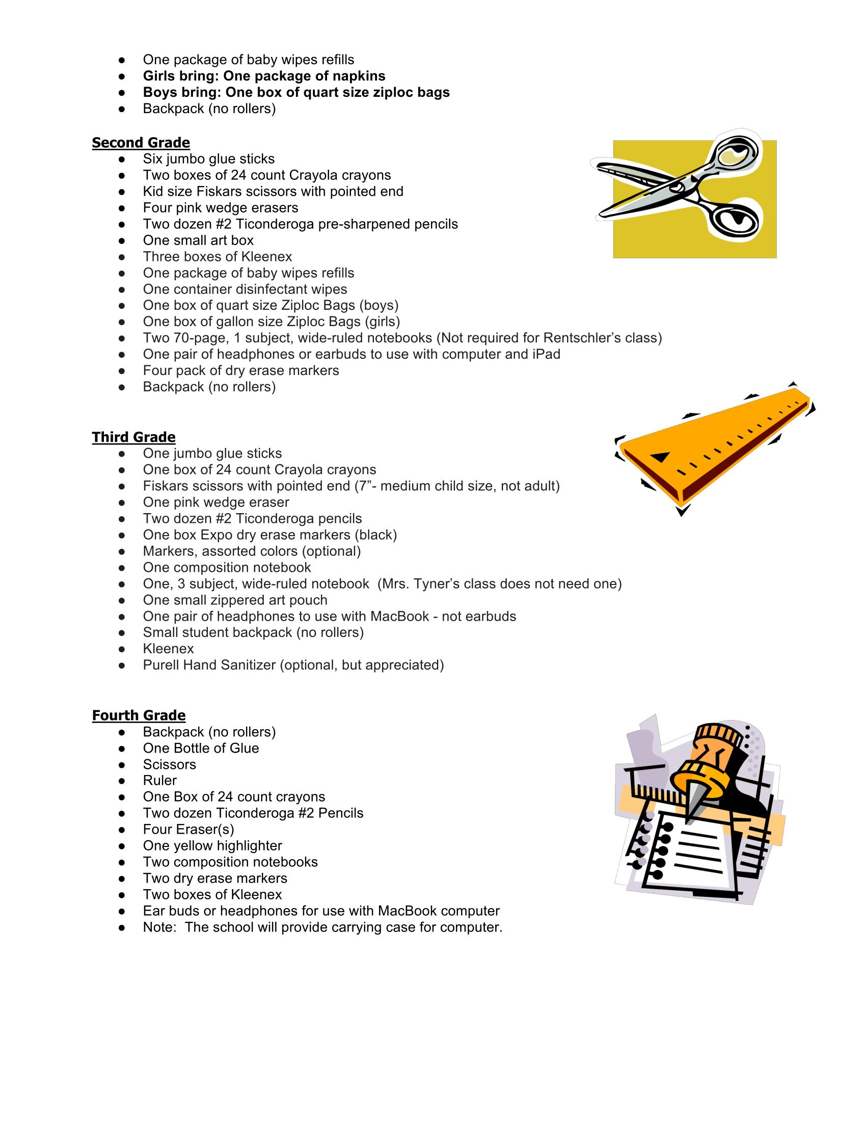 K-4 Supply List Pg. 2