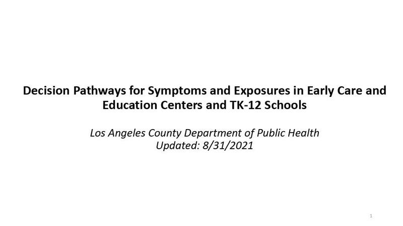 Decision Pathways for Symptoms and Exposures in Early Care and Education Centers and TK-12 Schools