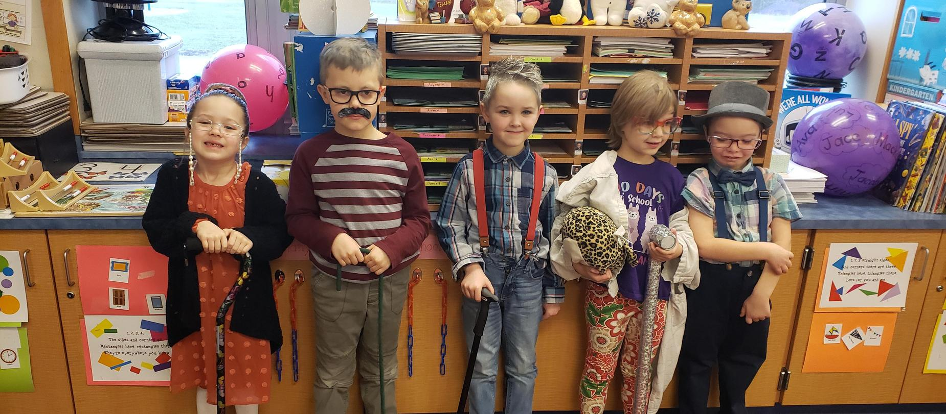 kindergarten students dressed like they are 100