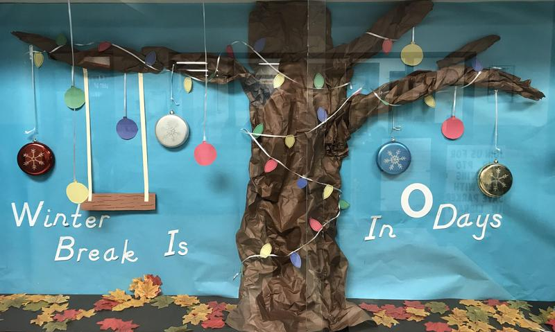 An art piece depicting a tree without its leaves and says 0 days until Winter Break