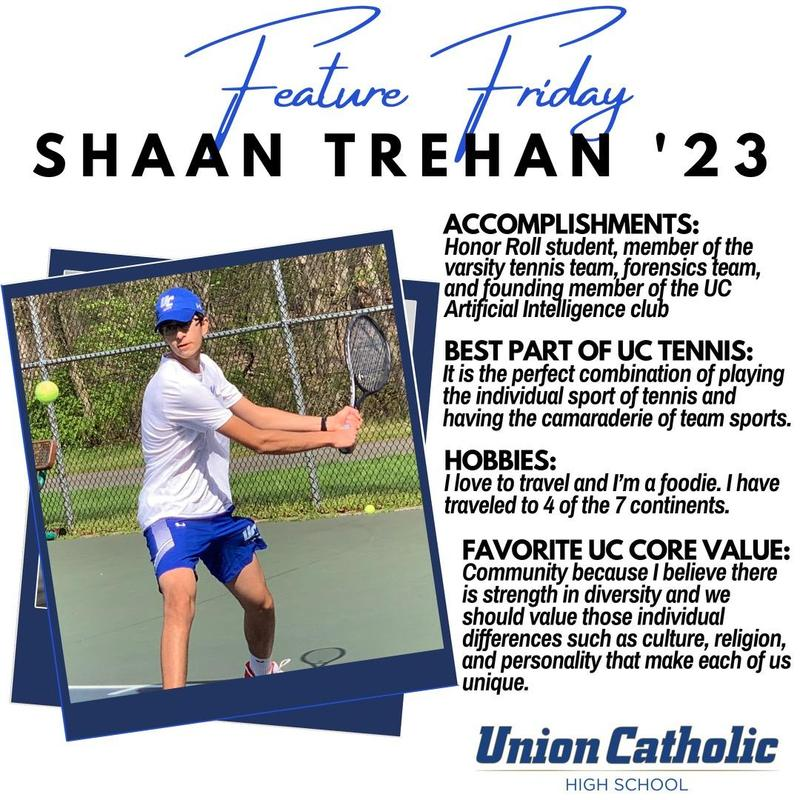UC's Shaan Trehan Making Presence felt on and off the tennis court at Union Catholic Thumbnail Image