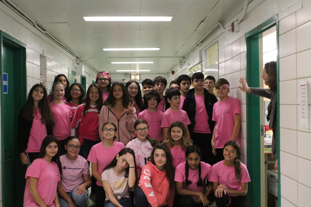 Eighth grade students wear pink for Breast Cancer Awareness