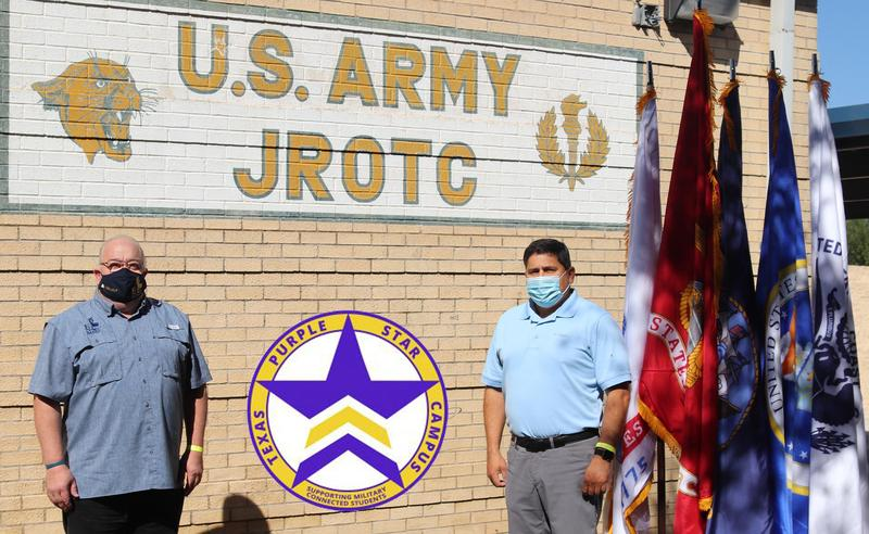 Edinburg North High School awarded Texas Purple Star Campus Designation. Pictured (L-R): Edinburg North High School Principal Mark Micallef and Maj. Saul Gonzalez, a senior instructor for the JROTC program at Edinburg North High School.