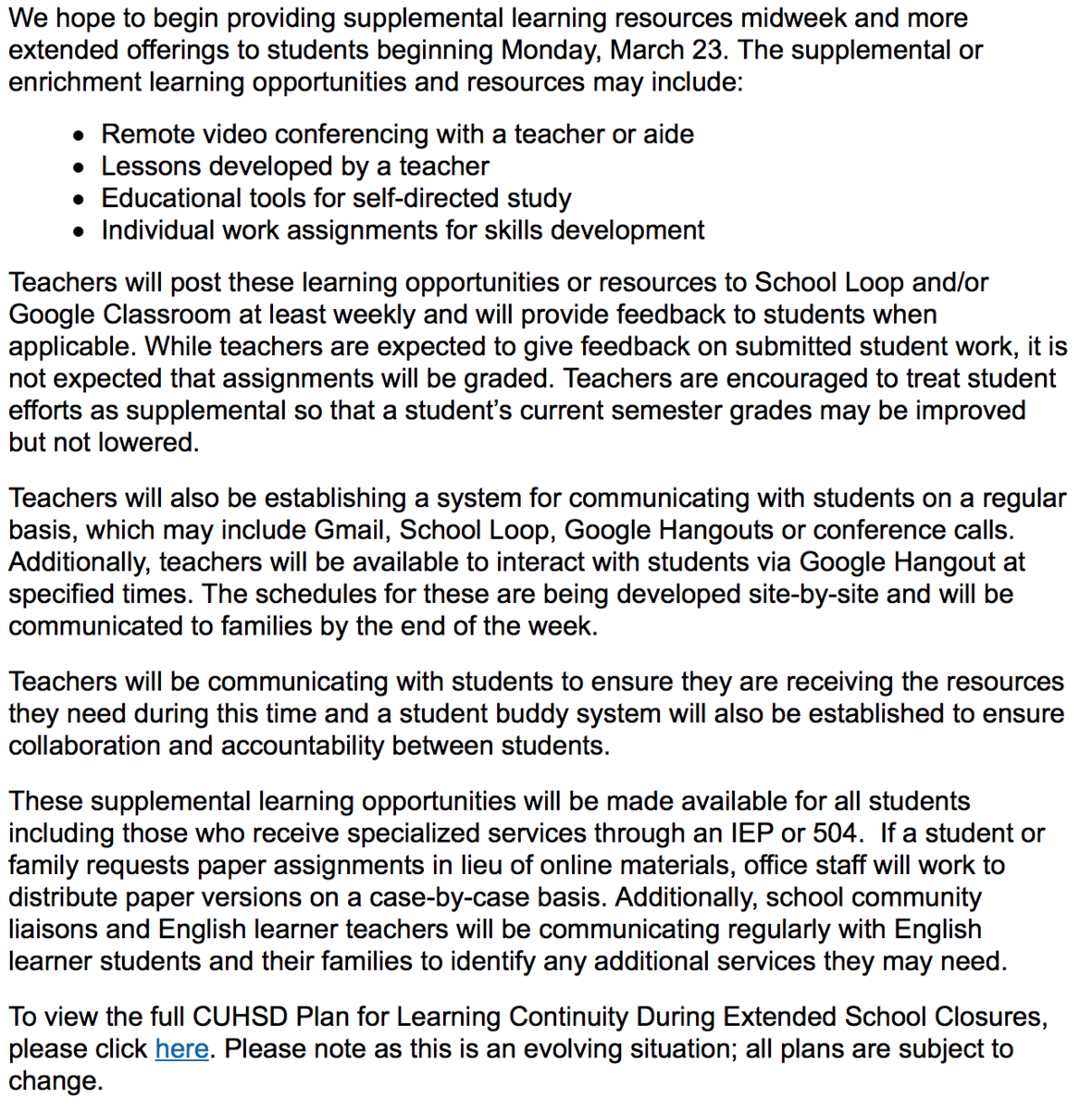 image of district supplemental learning opportunities for students during coronavirus closure