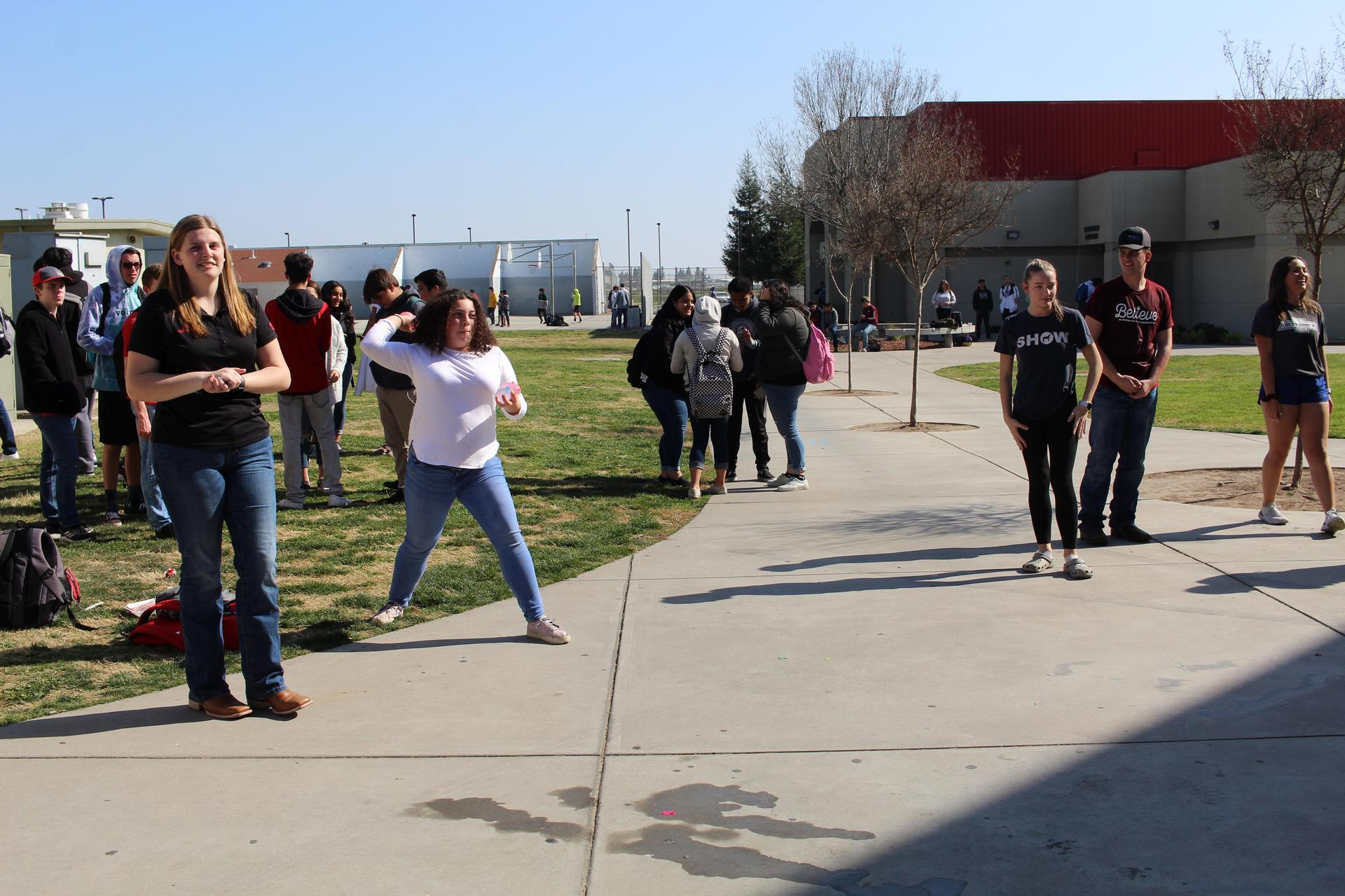 students and teachers at the FFA water balloon toss