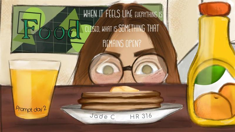 girl with glasses looking at plate of pancakes and cup of drawing