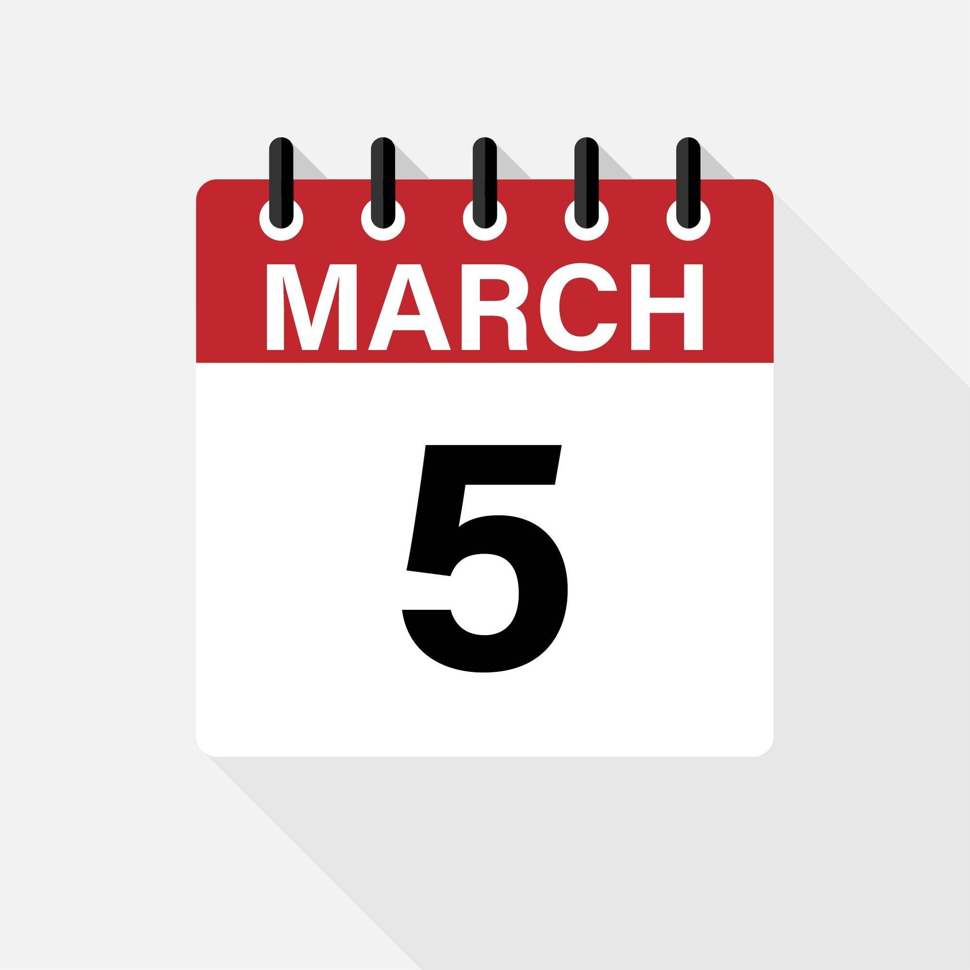 calendar icon showing march 5