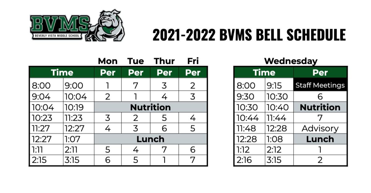 BVMS Bell Schedule