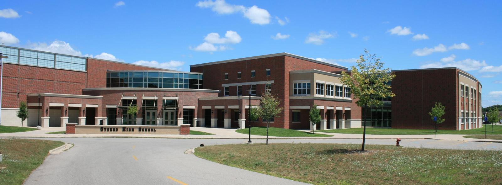 Exterior shot of the high school.