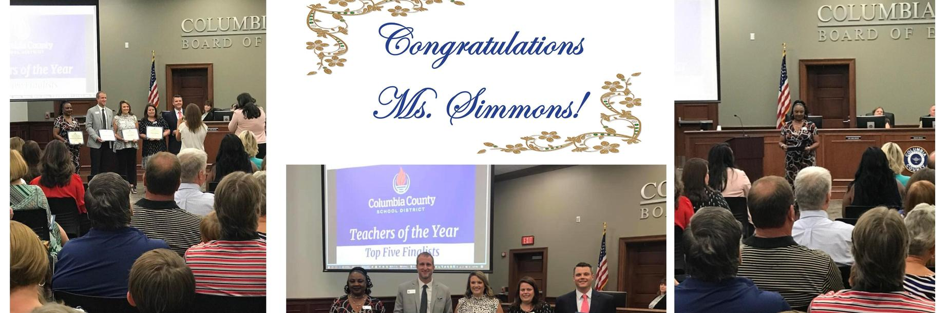Congratulations to Ms. Simmons TOTY top 5 finalist