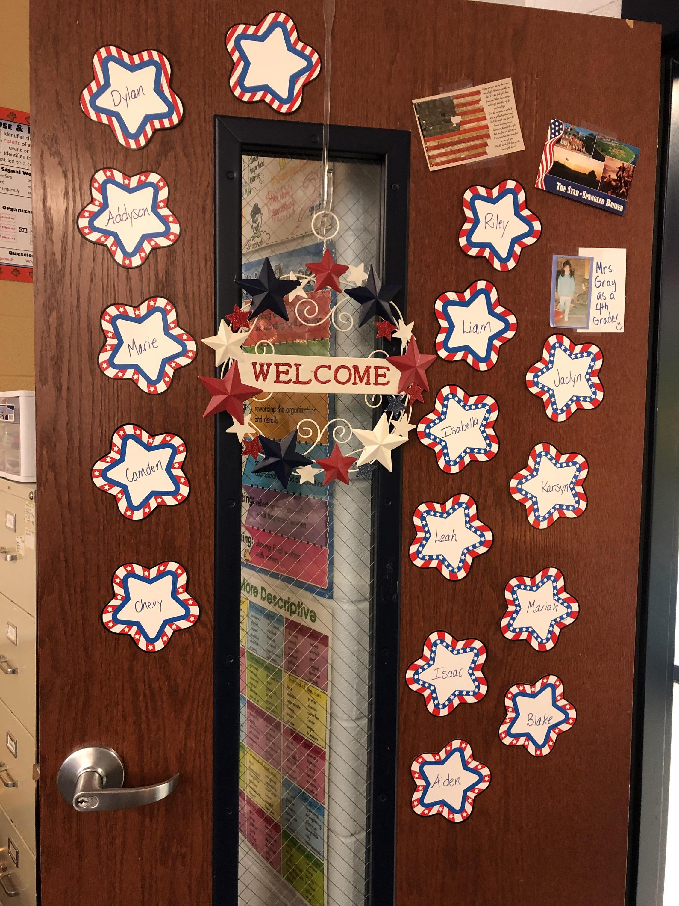 Our front door is full of red, white and blue!