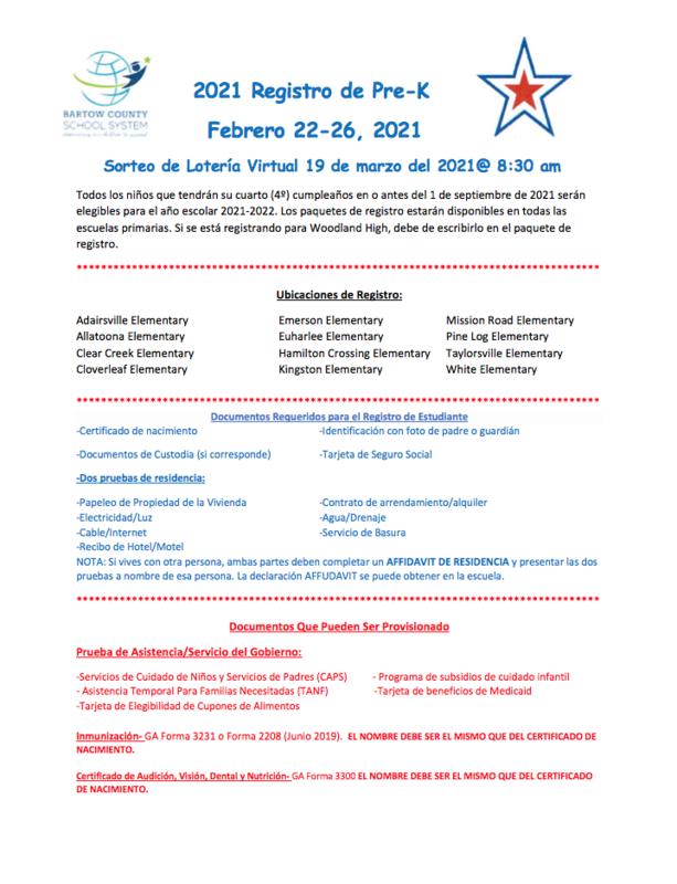 Pre-K registration information flyer in Spanish