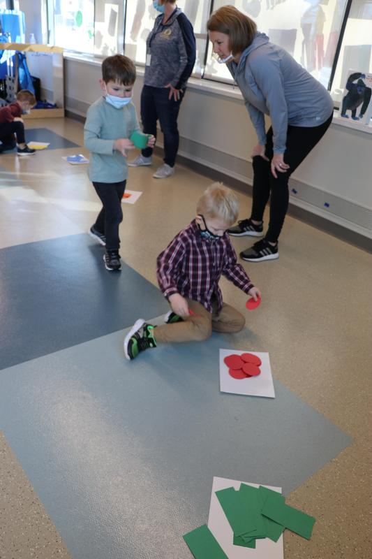 students match shapes in the correct piles