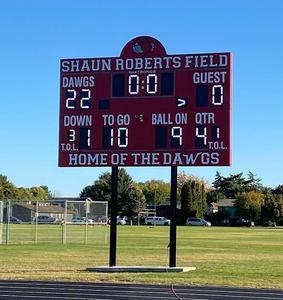West's new score board bearing Shaun Robert's name.