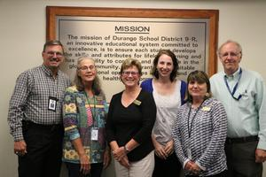 Image of the Superintendent Snowberger, and School Board Members Stephanie Moran, Shere Byrd, Marianne Valdez, Nancy Stubbs and Mick Souder
