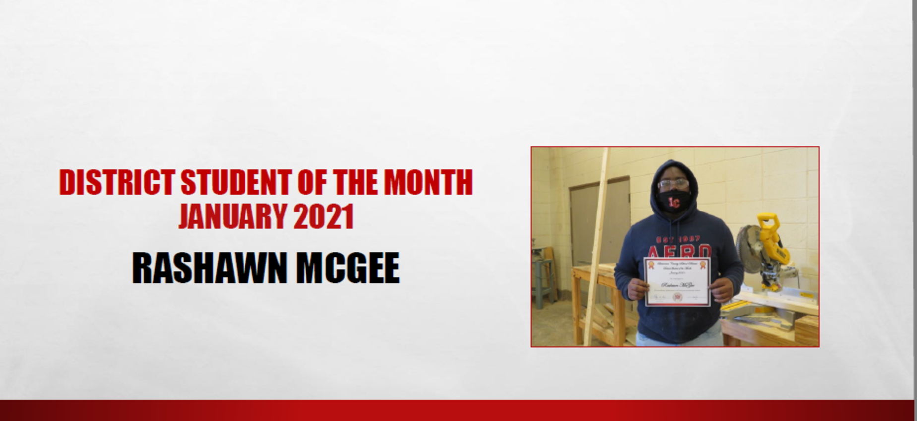 January 2021 Student of the Month Rashawn McGee