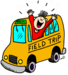 Clip art school bus with laughing child leaning out of window.