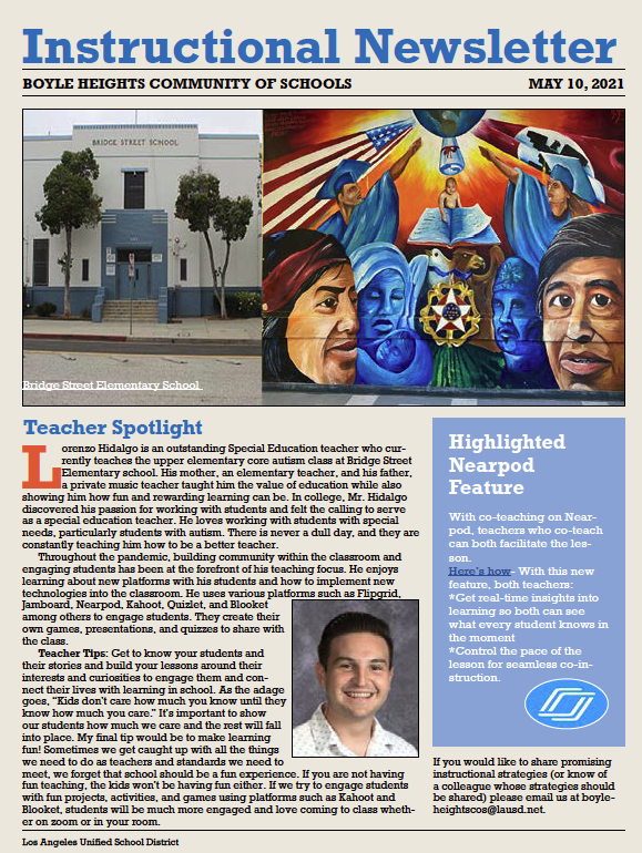Boyle Heights CoS Instructional Newsletter- May 10, 2021 Featured Photo