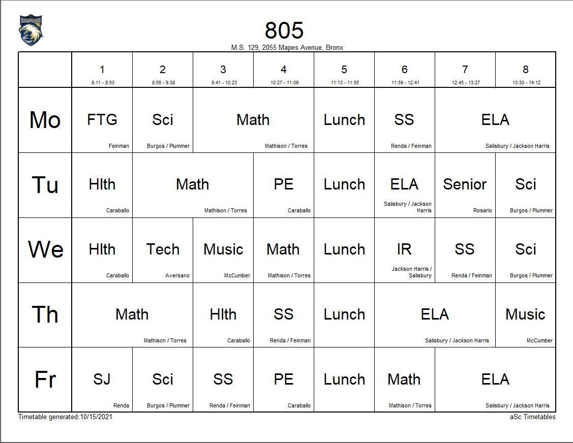 805 class schedule