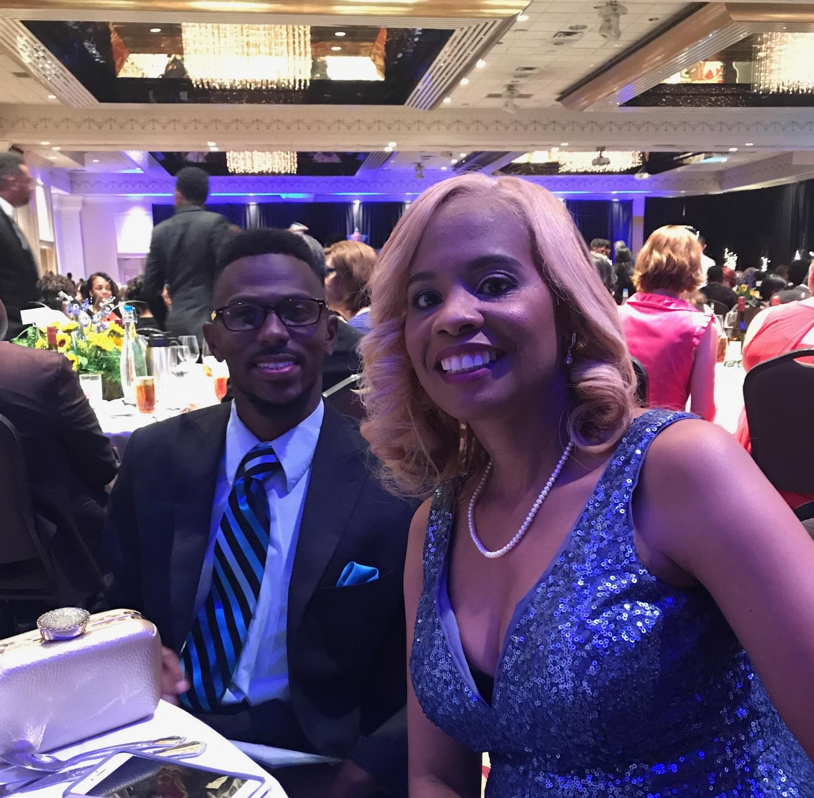 Principal Penn with her husband at the gala honoring educators from across the state