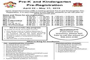 Pre-K and Kindergarten Pre-Registration flyer