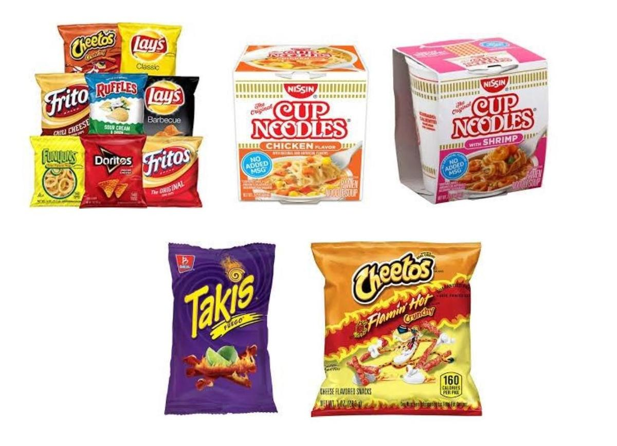 Assorted Chips and Cup Noodles