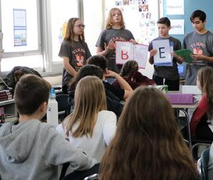 Members of the 8th grad Tolerance Club at Edison Intermediate School conduct an outreach session with 6th graders on Jan. 30.