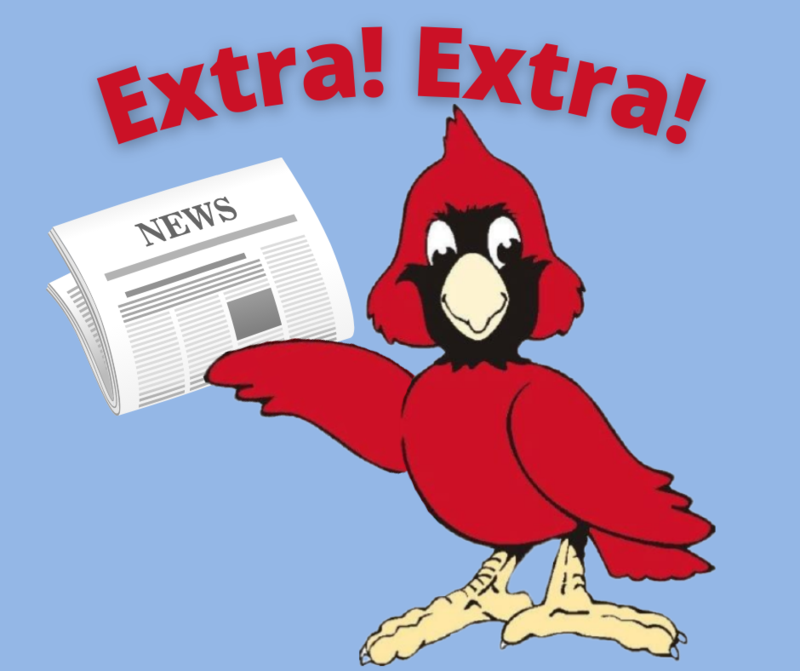 Cardinal holding newspaper with text