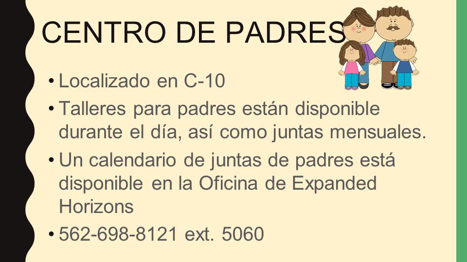 Parent Center power point slide (Spanish)