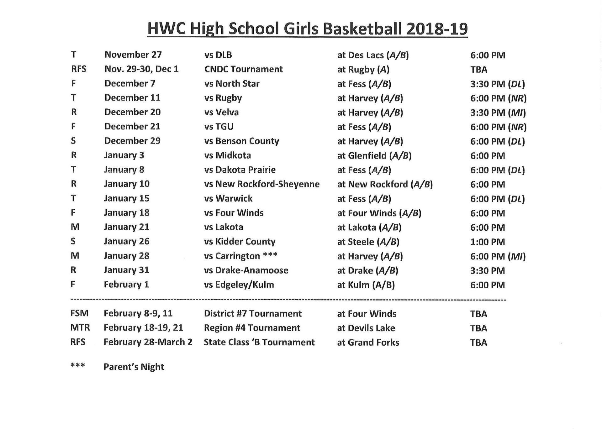 2018-2019 Girls Basketball Schedule