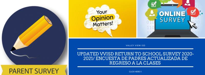Update  VVHS Parent Survey/Encuesta De Padres actualizada de Regreso a la clases Thumbnail Image