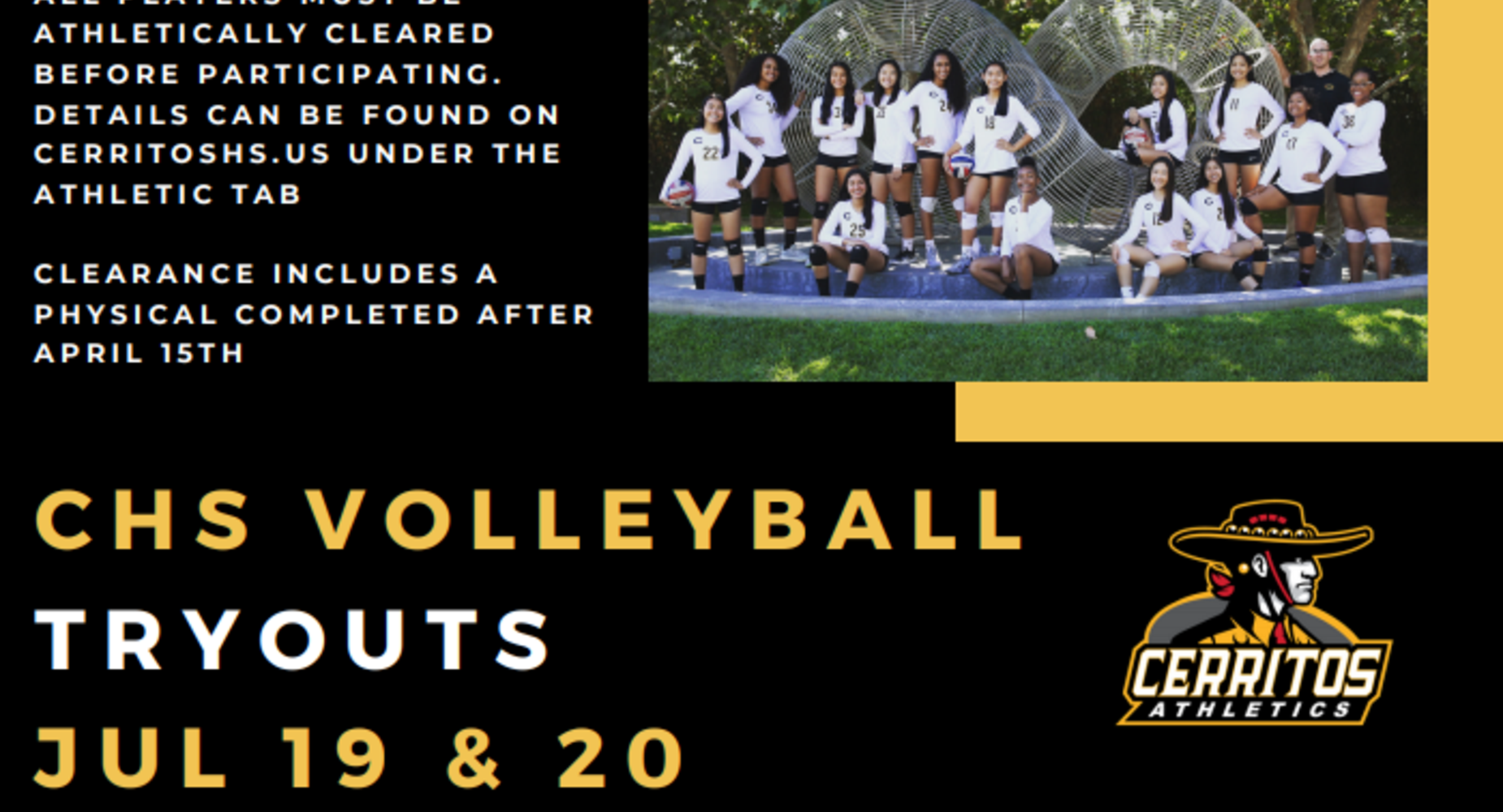 CHS Volleyball Tryouts 7/19 and 7/20