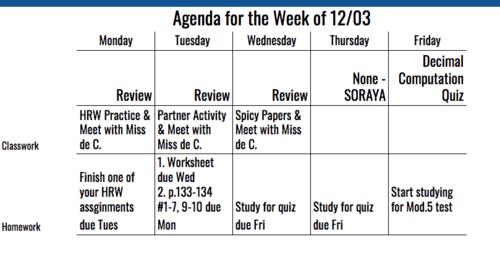 6th Grade Agenda for Week of 12/3