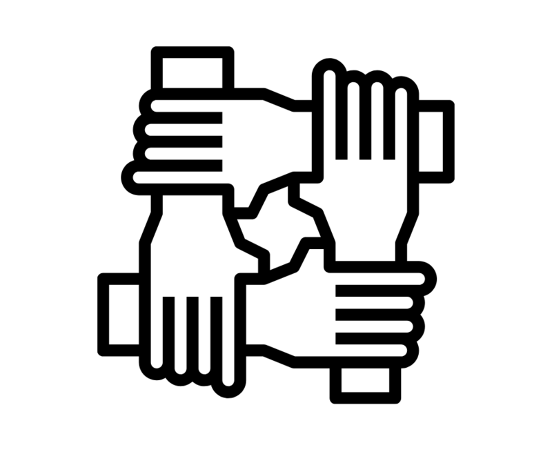 White background, black outlines of arms interconnecting as a sign of solidarity