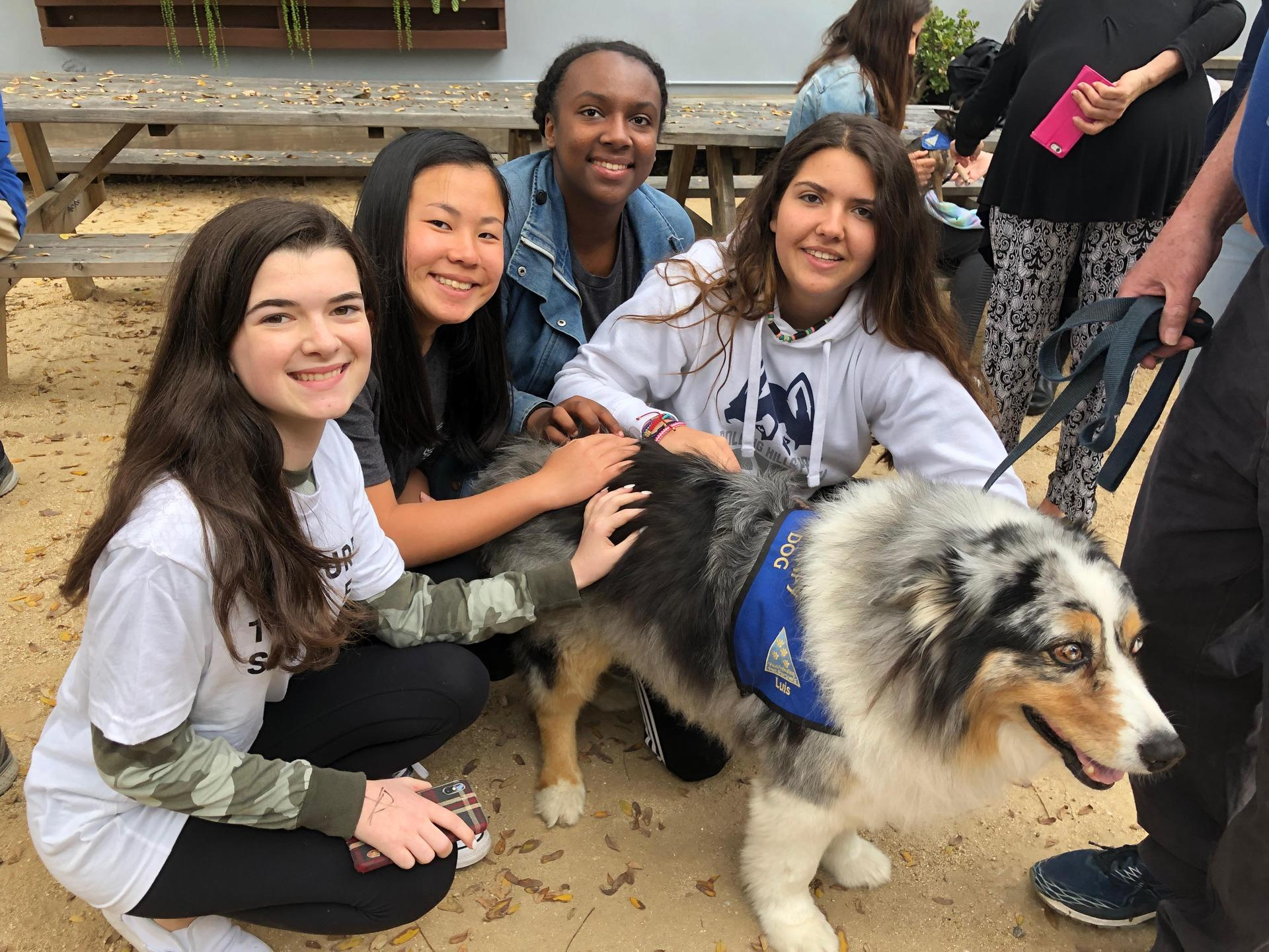 Bring Change 2 Mind Club with therapy dog they brought to campus