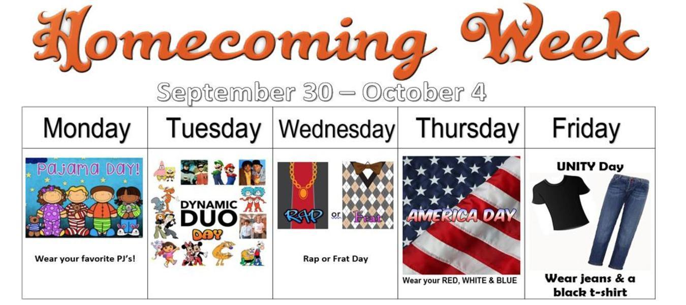 Dress up days for Homecoming Week!