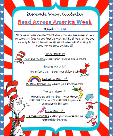 Schedule for Dr. Seuss dress up days