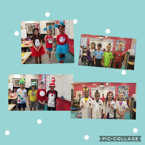 Students dressing up for Dr. Seuss week