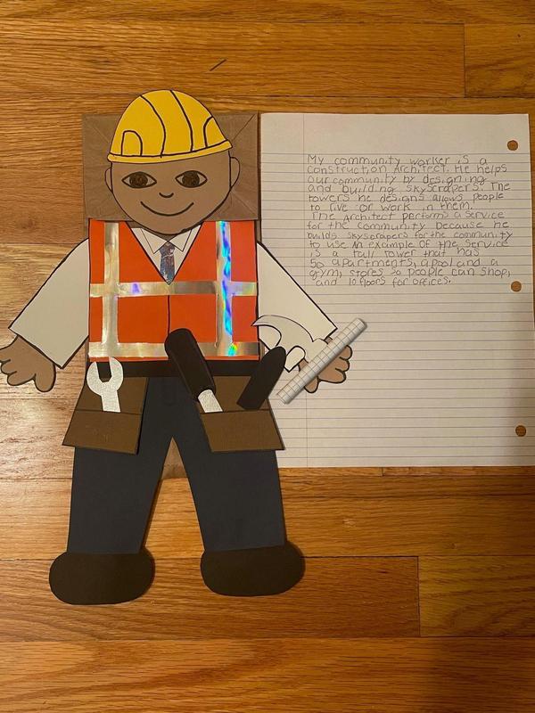 Ellison's Construction Worker puppet