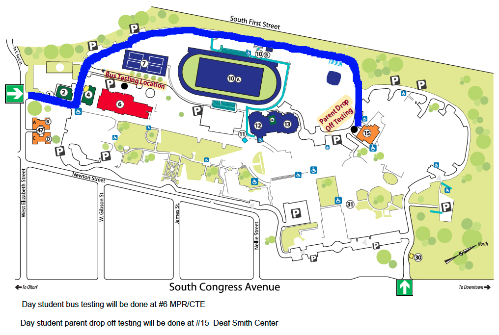 Map of the Campus that shows testing locations
