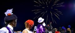 AHS band at a competition looking at fireworks