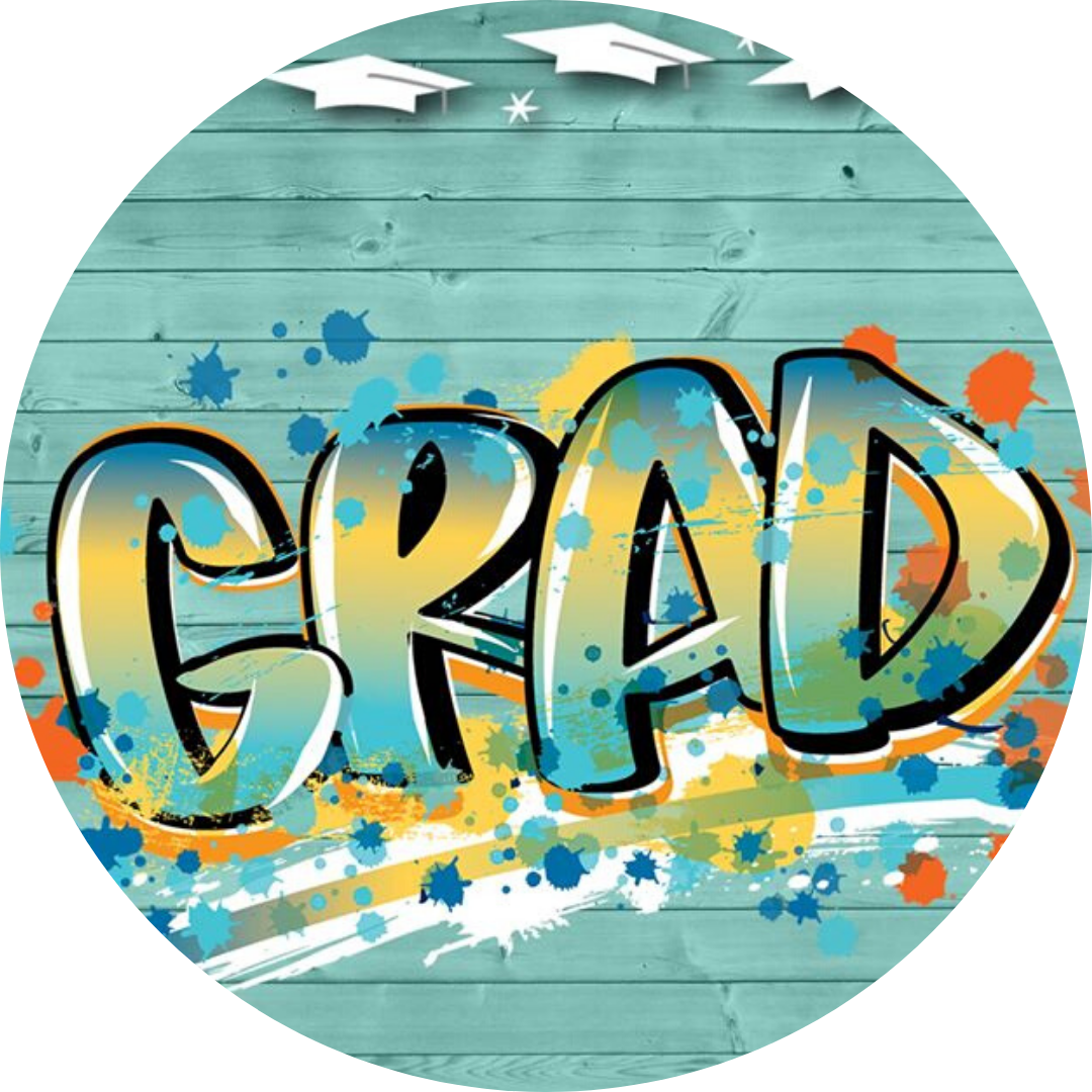 grad spray painted on wall