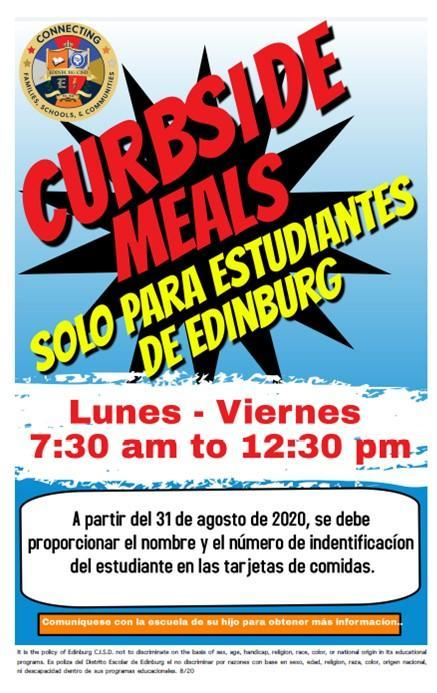 Image of Curside Meals Spanish flyer