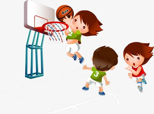 clip art of kids playing b-ball