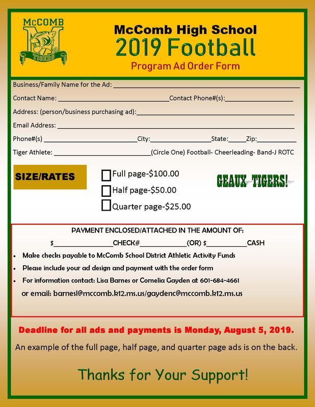 McComb High School Football Program Ad Order Form